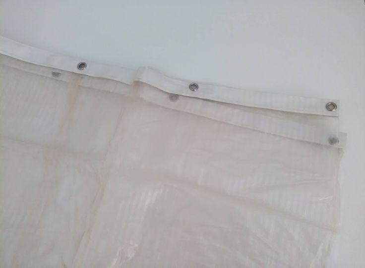 Tenda per bagno a righe / Vintage tenda bagno rosa pallido / Tenda bagno plastica di VintaFai su Etsy