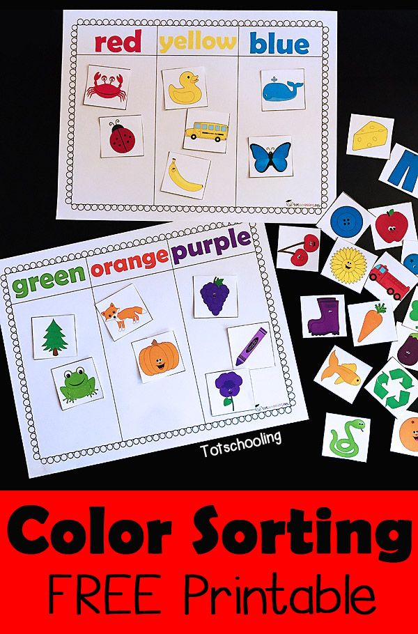 color sorting printable activity - Colour Games For Preschool
