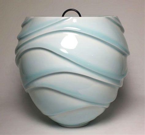 Ono Kotaro Ceramics carved curving lines nouveau pattern elegant curves pottery clay