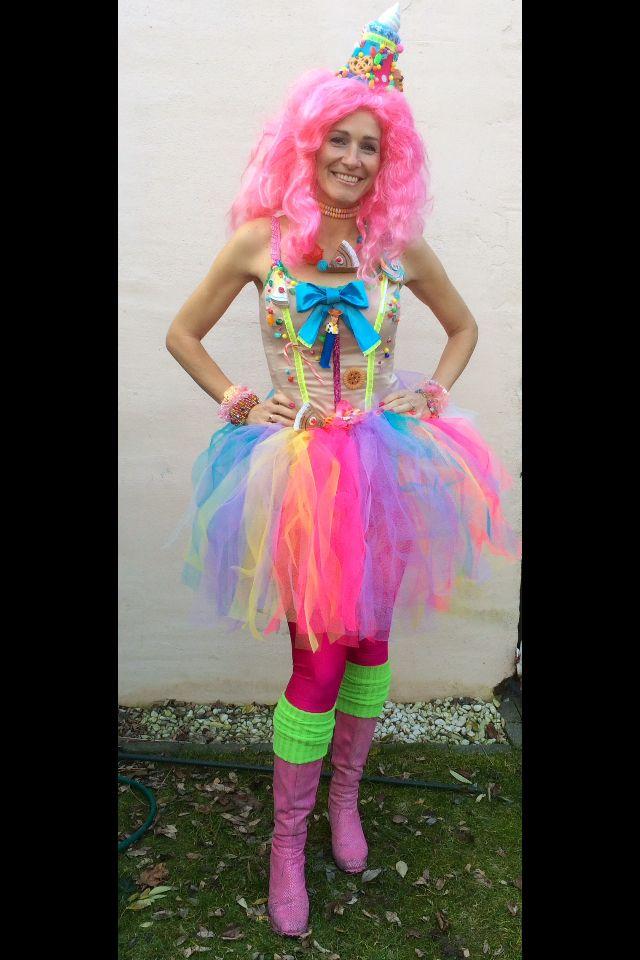 Carnaval outfit 2015 Candy Crush! Neon, tutu, tule, taart en snoep.  Halloween, pink