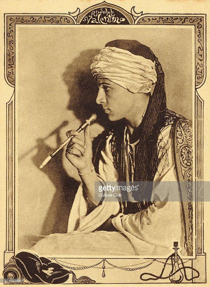 Rudolph Valentino - Italian actor. Born Rodolfo Guglielmi.Caption reads 'Rudolph Valentino dans 'Le Cheik' / The Sheik (1921) . des Films Paramount.'RV: 6 May 1895 – 23 August 1926.