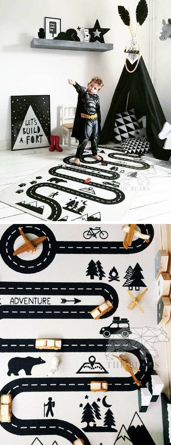 I love these adventure kids rugs. I remember having a similar one. I loved it. #ad #kidsroom #rug #adventure #homedecor #nursery #decoration #playmat #scandinavian #playroom #blackandwhite