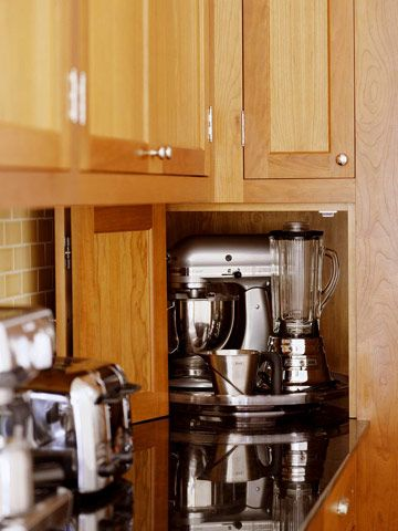 Nifty Niche: Kitchens Remodel, Small Appliances, Appliances Garage, Appliance Garage, Houses Mixers, Stainless Steel Turntable, Kitchen Appliances, Garage Ideas, Corner Spaces