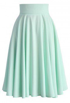 Creamy Pleated Midi Skirt in Mint - Retro, Indie and Unique Fashion