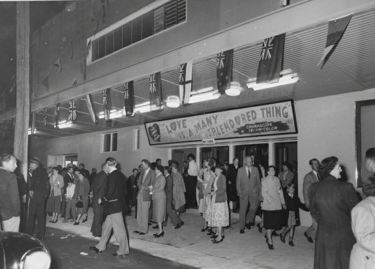 Crowds leaving after the opening of the new Olympia Theatre in 1956 / Picture Bundaberg, a project of Bundaberg Regional Libraries http://library.bundaberg.qld.gov.au/ | thefashionarchives.org