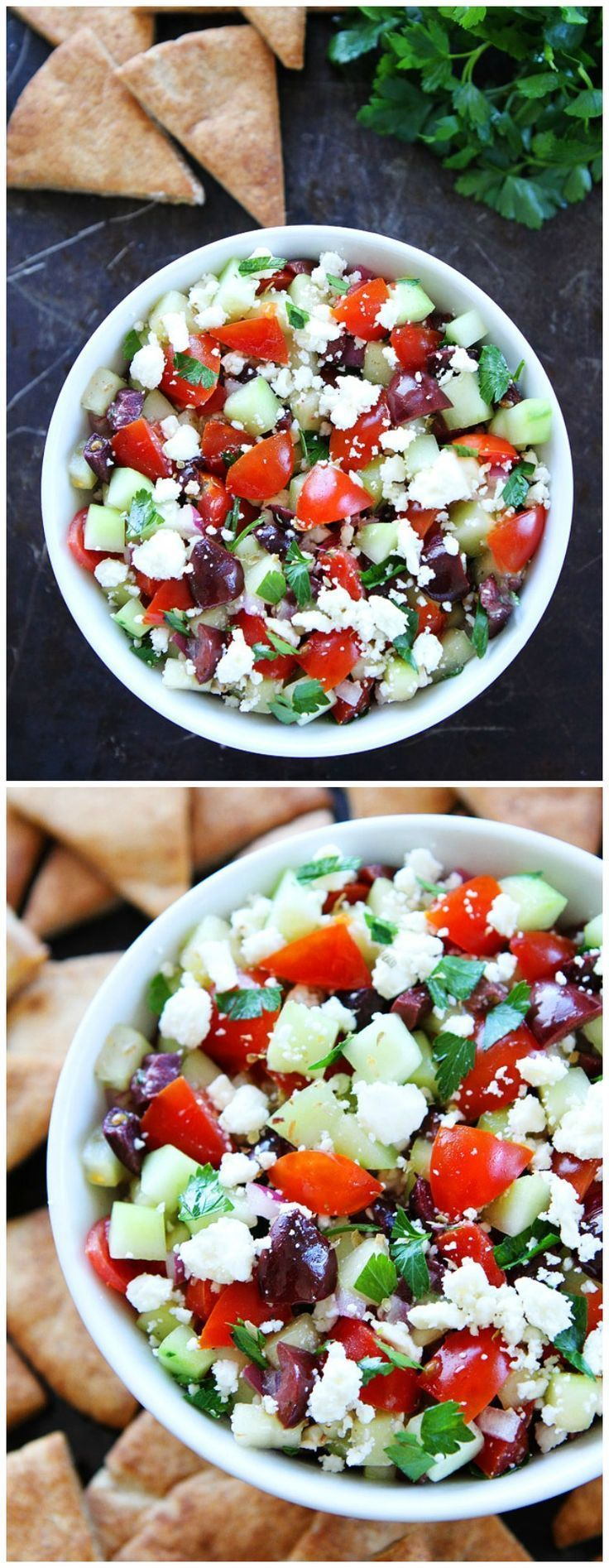 Greek Salsa Recipe on http://twopeasandtheirpod.com This easy Greek salsa is great with pita chips or served with chicken, fish, or lamb! It is so fresh and delicious!