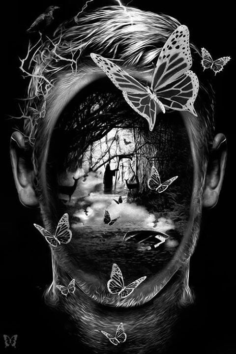 Bizarre surrealism, I love this because of the imagery within the face it's like the fantasy within this person shown upon their face