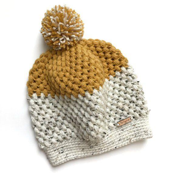 CROCHET PATTERN // Puff Stitch Hat Crochet Pattern // Slouchy Hat ...
