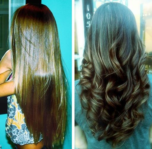 cabello liso y rizado