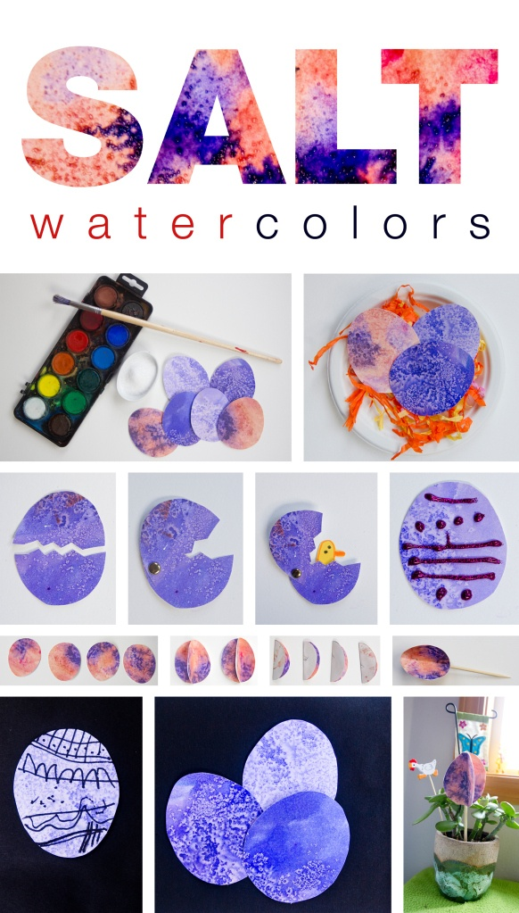 I did this with the boys and it turned out great. We used large water color paper and three different colors. Salt and watercolors, couple of cool Easter art project ideas for kids, arTree