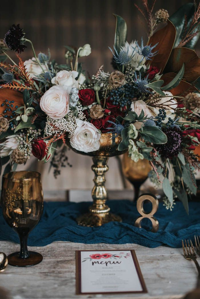 Moody-vintage fall floral centerpiece | Image by Lindsay Nickel