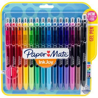 Paper Mate-InkJoy Gel Pens: Assorted. Brighten up your writing with these quick-drying and smear-free gel pens! Package contains fourteen 5-3/4 inch long 0.7mm gel pens in fourteen colors.