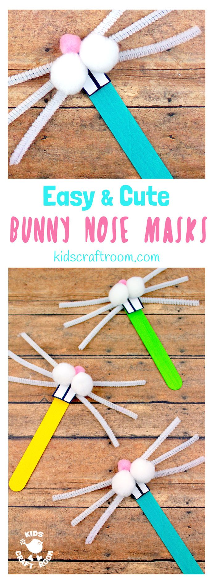 Totally cute and easy Bunny Nose Masks - so fun for Easter imaginative play. You and the kids can make these rabbit masks in minutes and they're super fun for popping into Easter baskets and sharing with friends. #Easter #EasterCrafts #Rabbit #bunny #EasterBunny #rabbitmasks #eastermasks #bunnymasks #masks #popsiclestickcrafts #springcrafts #kidscrafts #craftsforkids #kidscraftroom via @KidsCraftRoom