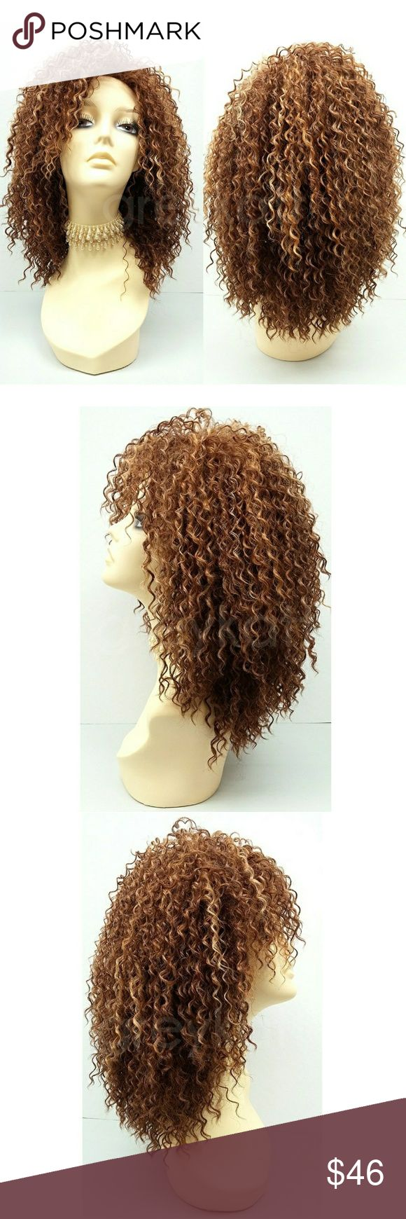 "Mixed highlighted brown long curly wig A gorgeous riot of tight spiral curls that will give you that fresh out of the salon look. Made with heat-resistant premium synthetic fiber which retains its style even after cleaning and can be styled with heating tools.  Color: Mixed Highlighted Brown (3147) Length: 15"" inches Circumference: Default at 21"" with adjustable cap (max 22"") Materials: Heat Resistant Synthetic Wig Fiber  Wig prices are firm. Accessories Hair Accessories"