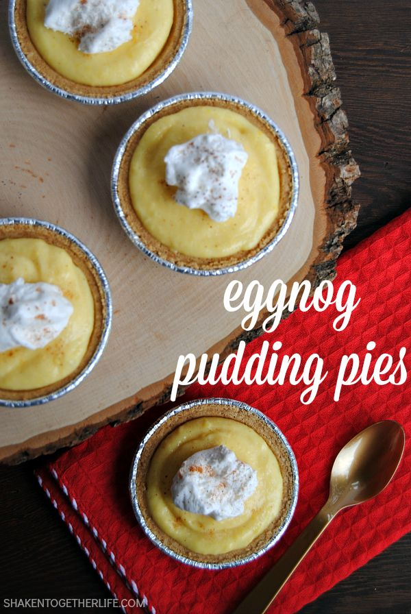 Eggnog pudding pies are one of my favorite easy holiday desserts!  Prep these mini no bake pies ahead of time for stress free holiday entertaining!