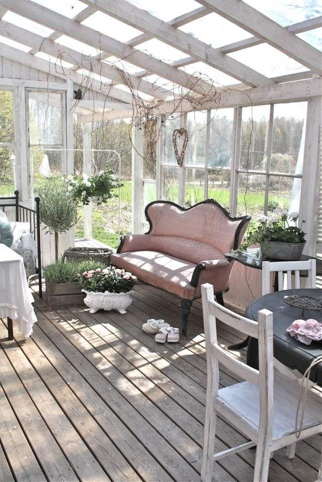 shabby chic sunroom photos   wintergarten einrichtung shabby chic skandinavischer stil 2-er sofa