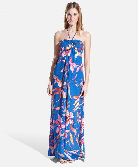 Vestido comprido flor - OYSHO