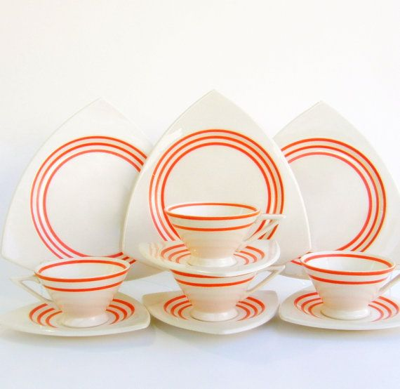 Dinnerware Set for 12: Atomic Art Deco by SusabellaBrownstein