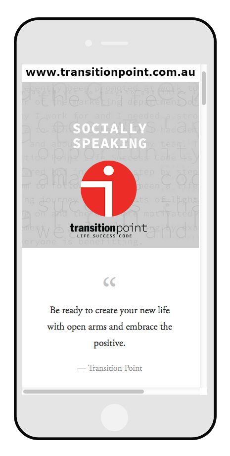 Socially Speaking at Transition Point - www.transitionpoint.com.au