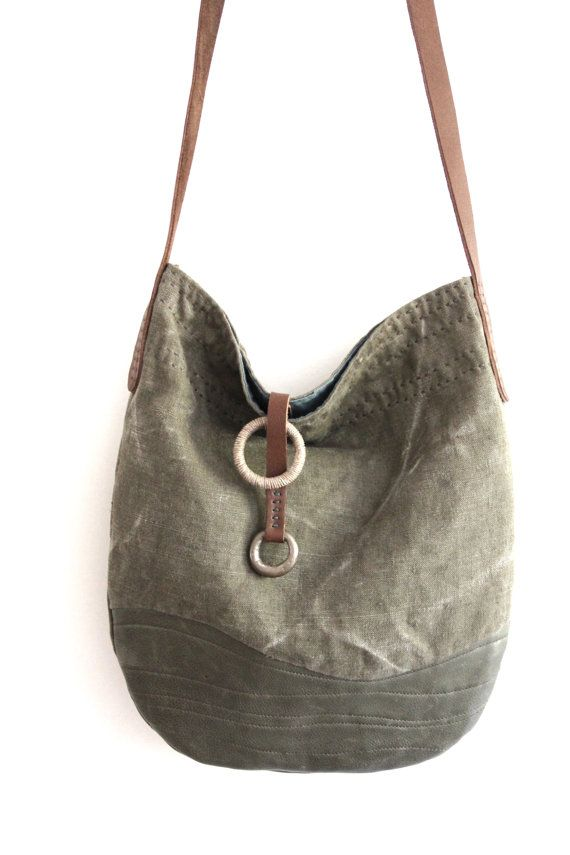 The Horizon - Handcrafted  Vintage French Linen + Recycled + Eco Leather Cross Shoulder Bag