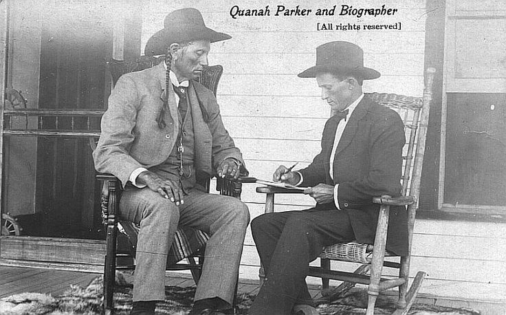 Quanah Parker - being interviewed by a biographer.  At this time, through shrewd investments, part ownership of a railroad, and a profitable cattle ranch, he had become perhaps the wealthiest Indian in America. Yet, for all his efforts to embrace white culture, he never repudiated his past or asked his people to abandon their traditions. He rejected suggestions he become monogamous, refused to cut his long braids and rejected Christianity for the Comanche peyote religion.