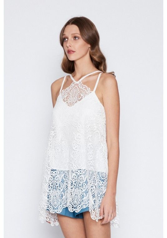 Once Was - Lunaire Lace Waterfall Top