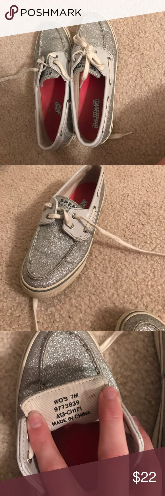Silver Sparkle size 7 sperry topsider shoes! Worn probably a total of 10 times. These Sperry Topsider's are so cute and match with anything! They are silver sparkly with white laces. They are a size 7 in women's. Sperry Top-Sider Shoes Flats & Loafers