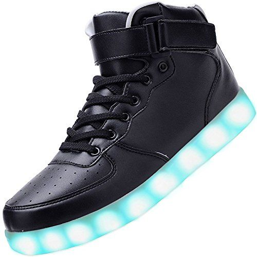 (Present:kleines Handtuch)Rot EU 39, USB Luminous High Casual Women Sneakers Sneakers Flash Top Shoes Couple Unisex 7 Sport Men LED-Licht Color