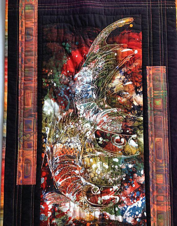 Batik Wall Art Small Batik Quilt Abstract Batik Fish Fiber