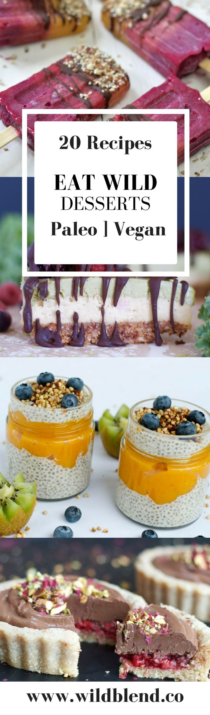 These 20 healthy and clean recipes are Paleo & Vegan friendly and will satisfy your sweet tooth without compromising your health goals. Grab the FREE eBook here: http://www.wildblend.co/freerecipes #wildblend #vegan #paleo