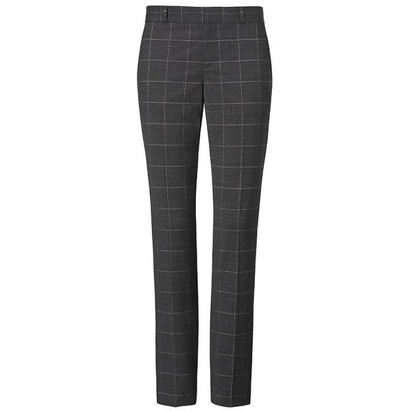 Ryan Slim Straight-Fit Shine Plaid Pant ($59) ❤ liked on Polyvore featuring pants, slim fitted pants, slim pants, straight trousers, plaid trousers and slim fit trousers