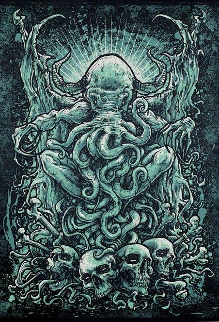 GodMachine, ilustraciones de influencias terroríficas