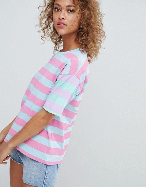 7de174a3 ASOS DESIGN t-shirt in mixed rainbow stripes Pastel Fashion, Trendy  Fashion, Pretty