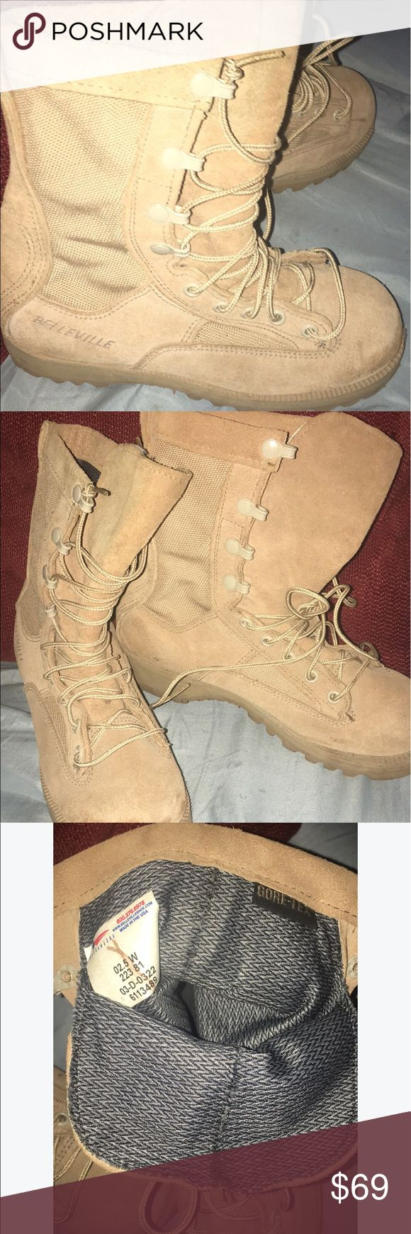 Belleville Women's Desert Combat Boots sz6.5 So so cool not only great looking but approved for flight and combat by the Army & Airforce ... totally waterproof ... and they look great on ! Suede and beautifully constructed to last out on the front line ... awesome looking and comfortable ... this momma wears army boots 😊 Belleville Shoes Lace Up Boots