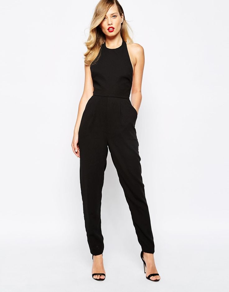 Finders Keepers Monument Halter Jumpsuit In Black