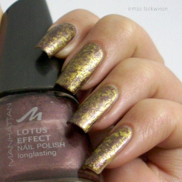 Brown Gold Saran Wrap Nails