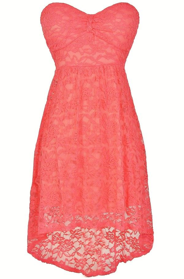 Angelica Strapless Lace High Low Dress in Coral Bridesmaid dresses