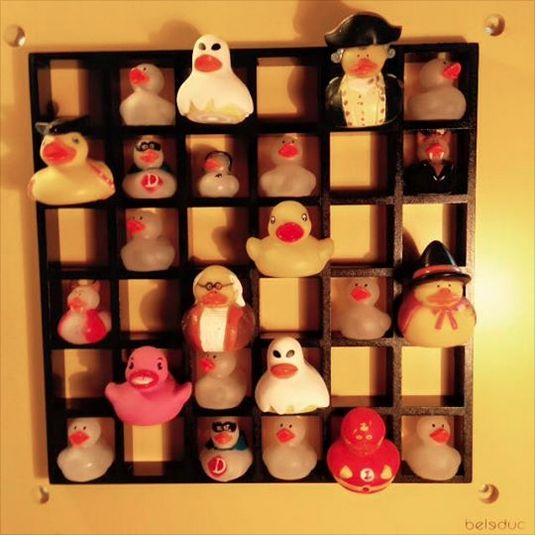 Beleduc graphic wall mount ($109 online) found in Goodwill for $5 makes a great shelf for my rubber duck collection.
