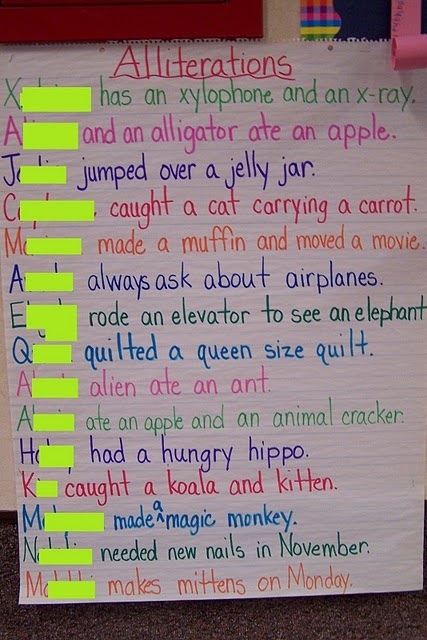 Alliterations using the student 39 s name for tongue twisters for Alliteration poem template