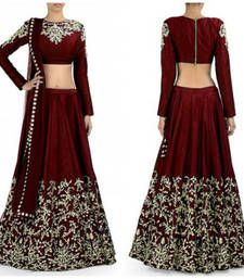 Buy Red embroidered art silk unstitched lehenga-choli lehenga-choli online