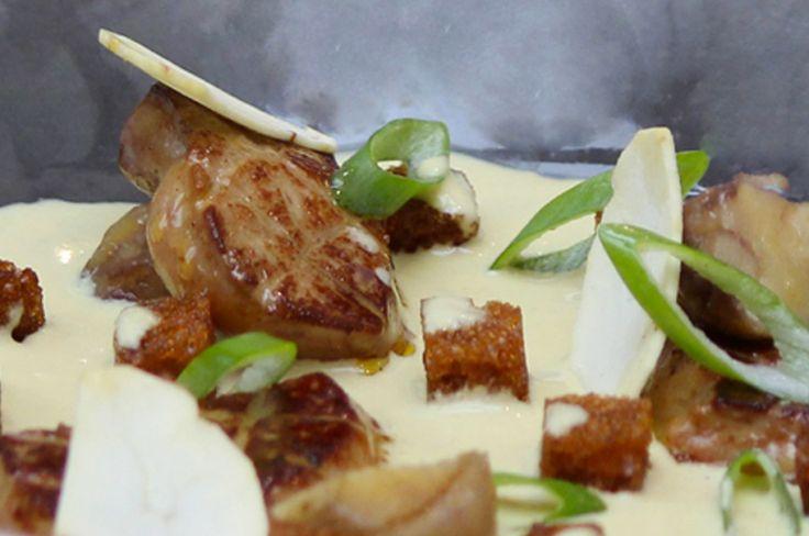 Crème de foie gras légèrement relevée  au curry, châtaignes crues  et cuites, pain d'épices croustillant Entrée de Noël Cook Angels Recette facile et gourmande