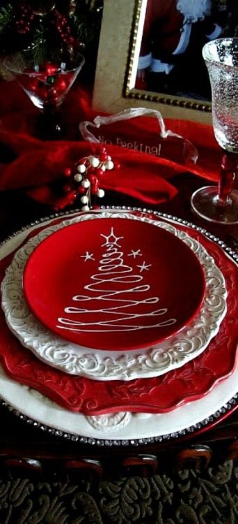 Layered Charm: Red and White Christmas Dishes.