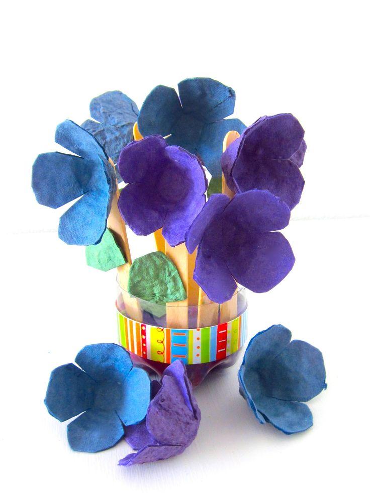 Cómo hacer un ramo de flores con cajas de huevos
