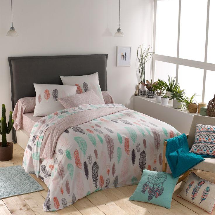 Linge de lit blancheporte tendrement orn de plumes pastels linge de maiso - Linge de maison en ligne ...