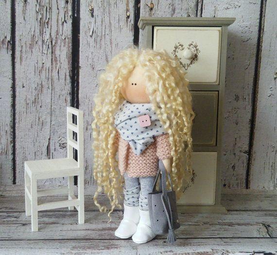 Soft doll doll Tilda doll Art doll handmade blonde yellow colors Rag doll Soft doll Cloth doll Fabric doll Home doll by Master Irina Bukina