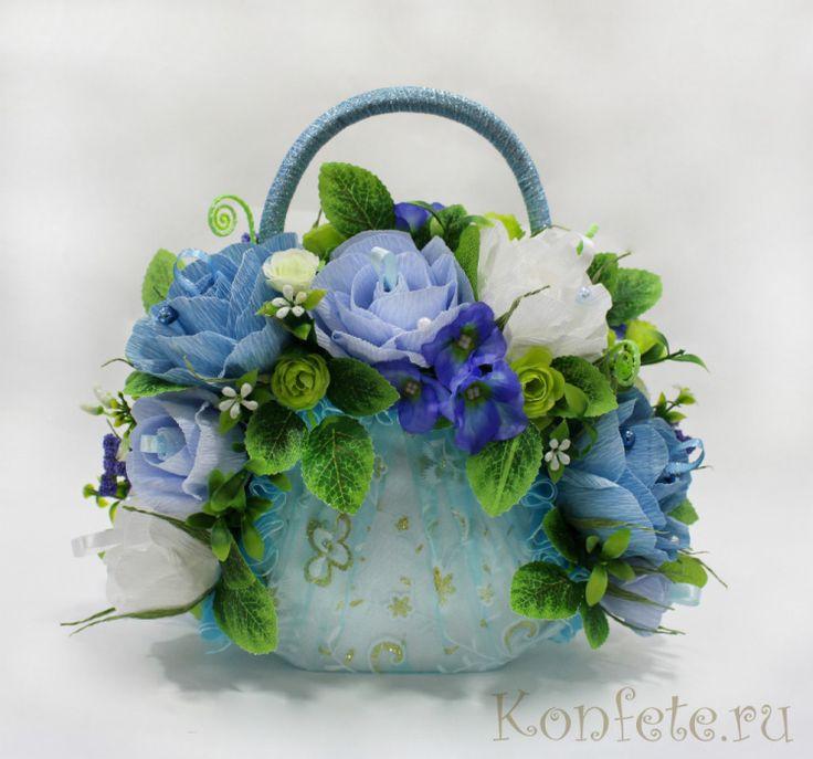 Gallery.ru / Сладкая сумочка Комплимент - Букеты в корзинках, на бокалах - elena-konopleva