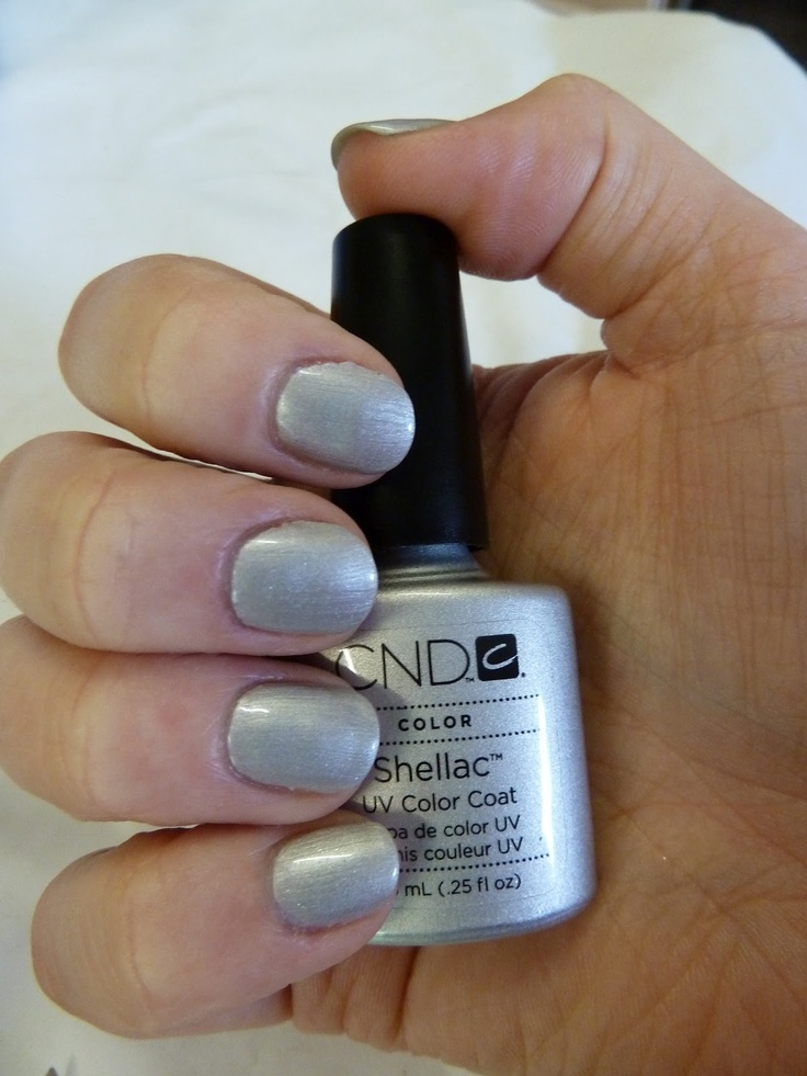 CND silver chrome shellac uv color coat (gel nail polish ...