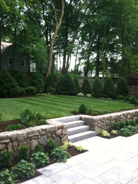 Granite Terrace And Steps With Field Stone Retaining Wall And Upper Lawn  Surrounded By Boxwood And Japanese Fern Grass   I Like The Planting Around  The ...