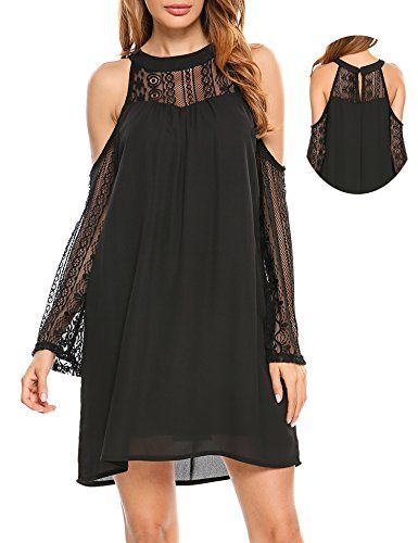 edd81fbf60d88f ACEVOG Women s Cold Shoulder Lace Chiffon Mini Patchwork Loose Casual Dress