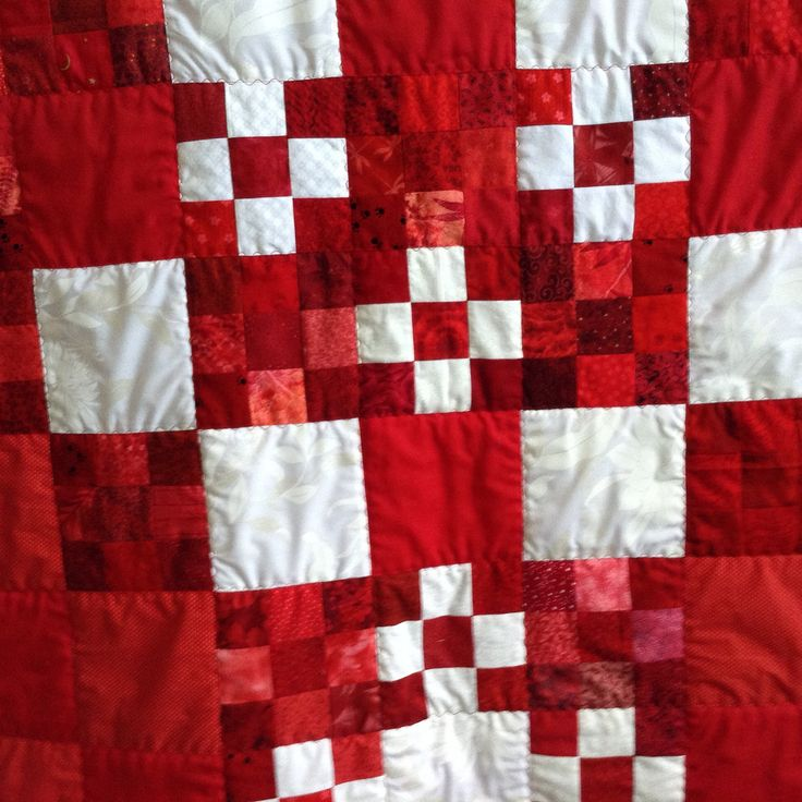 Nine Patch  Quilt - Art Quilt - red wall hanging or couch throw - handmade original - gift idea - custom order finish - pick an option by TheWhatNaught on Etsy